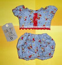 """Handmade Doll Clothes for 11"""" - 13"""" Baby Dolls - """"Play Time"""" Blue 2-pc Play Set"""