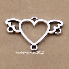 20pc Tibetan Silver Heart Wings Connectors Charms Pendant Jewellery Craft J1100