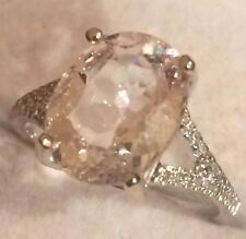 4.03  NATURAL MORGANITE AND  NATURAL DIAMONDS RING IN 14K WHITE GOLD