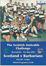 SCOTLAND v BARBARIANS 2000 RUGBY PROGRAMME