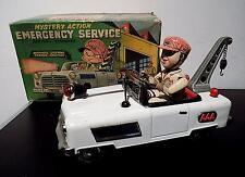 Vintage Tin con pilas AAA camión de servicio de emergencia, Nomura Juguetes Japón Exib
