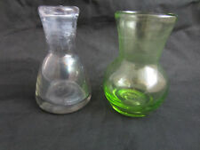 """vintage 2 blown glass small vases purple green thick wall glass 3.5"""""""