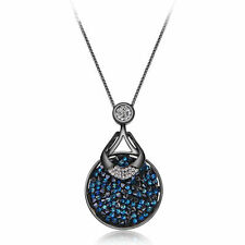 Blue Swarovski Element Crystal Stones Black Gun Plated Chain Necklace Pendant