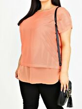 Women yours crochet top With Attached Longline Orange Chiffon Underlayer Size 20