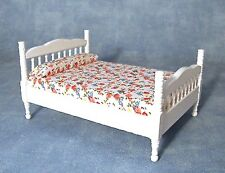 White Double Bed Dolls House Bedroom Furniture