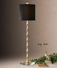 STATELY ANTIQUED GOLD METAL BAMBOO STYLE TABLE LAMP CRYSTAL ACCENT BLACK SHADE