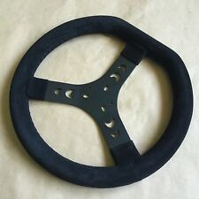 New Black Suede Flat Top Steering Wheel - TKM ROTAX TONYKART INTREPID GO KART