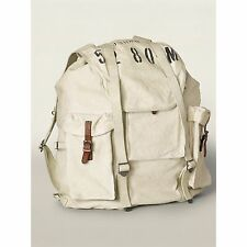 Ralph Lauren RRL Distressed White Canvas Leather Backpack Rucksack New $395