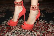 bebe TANAZ ANKLE STRAP RED COLOR PUMPS SIZE 8
