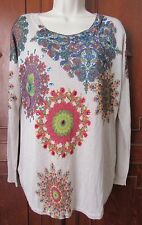 "Women's DESIGUAL ""Holly"" Sweater NWT Ecru multicolor geometric Embellished XL"