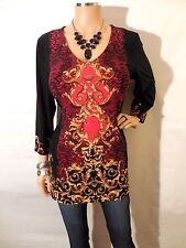 SUSAN GRAVER Womens Top M NEW Long Tunic Shirt Red Black Gold Stretch 3/4 Sleeve