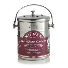 Kilner Stainless Steel 2 Litre Kitchen Compost Bin Food Waste Recycling 2L