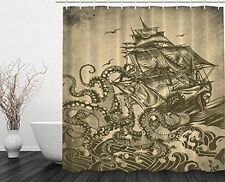 Ocean Shower Curtain Sail Boat Waves and Octopus Kraken Tentacles Country for