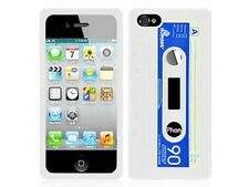 Nzup Coque Souple Apple iPhone 5 Softy Gel K7 Cassette Audio Vintage Blanc