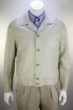 NWT New * KITON * $5520 Beige Leather w/ Linen Lining Jacket Coat~ 42/Large