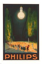 PHILIPS argenta VINTAGE ad poster LIGHT BULB illumination UNIQUE 24X36 new