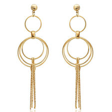 Spargz Gold Plated Party Long Elegant Round Dangle Earrings For Women AIER 692