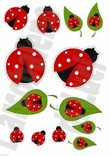 13 ADESIVI WINDOW STICKERS FINESTRA COCCINELLE LADYBIRD LADYBIRDS FINESTRE VETRI