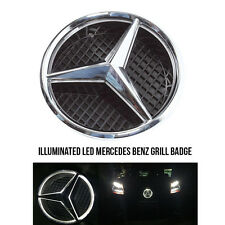 LED Illuminated Star Front Grille Emblem Badge White for Mercedes Benz 2011-2015