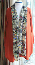 New size 14 Orange stretch cotton long sleeeve floaty cardigan with scarf edging