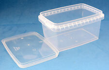 30 x 580ml Clear Plastic Rectangular Tamper Proof Tubs/Containers with Lids
