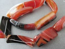 Red Sardonyx Curved Beads 10pcs