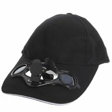 Black Solar Powered Air Fan Cooled Baseball Hat Camping Traveling LW US Shipping