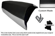 BLACK & WHITE CUSTOM FITS PEUGEOT JETFORCE 50 125 REAR LEATHER SEAT COVER