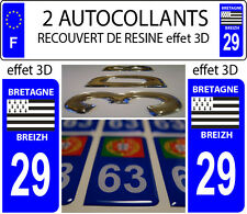 2 stickers plaque immatriculation auto TUNING DOMING RESINE BRETAGNE BREIZH 29