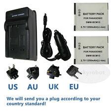 2X batterie + mur chargeur de voiture pour PANASONIC DMW-BCM13E BCM13 TS5 ZS30 TZ40 TZ4