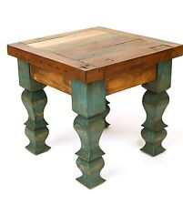 Rustic End Table #2-Turquoise-Mexican Folk Art-18x18x22 in-Old Doors-Antique