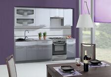 hochwertige Küche Schränke Küchenzeilen 240/180 grau / weiss hochglanz SCHNELL