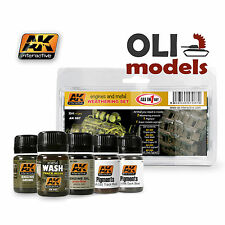 ENGINES & METAL Weathering Enamel & Pigments Set 5x35ml - AK Interactive 87