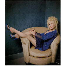 Dolly Parton with Legs Up in Chair with Big Smile 8 x 10 Inch Photo
