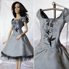 """Luxury embroidered silk dress, OOAK outfit for 16"""" Doll, Sybarite, FR16, Tonner"""