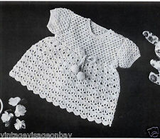 "Vintage crochet pattern-how to make sweet lace crochet baby dress 19-20"" chest"