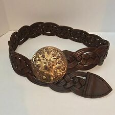 VINTAGE Concho Moroccan Braided Brown Leather Disk Belt Western Gypsy Hippie