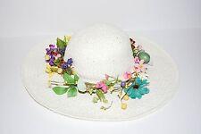CALVIN KLEIN IVORY UNIQUE WOMEN STRAW HANDMADE FLOWER HAT