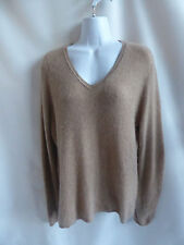 100% Cashmere Sweater Size XL Taupe V Neck Charter Club 44 Chest Tunic Jumper