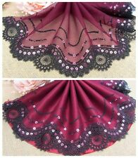 """7.5""""*1Y Embroidered Floral Tulle Lace Trim~Wine Red+Black+Gold~Gorgeous Dream~"""