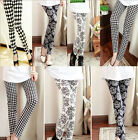 Damen Neu Mode Leggings Leggins Baumwolle Lang Drucken Hose Multi Pattern Blumen