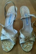 Manolo Blahnik Leather Gold Patterned Ankle Wraparound Strappy HH, Size 38