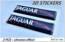 2x 3D STICKERS JAGUAR RACING STICKERS LOGO EMBLEM  - BLACK chrome effect