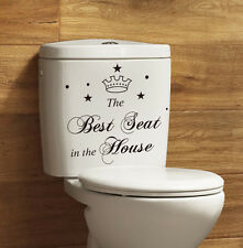 """Wall Vinyl Sticker Bathroom Toilet Seat Decal """"The Best Seat In the House"""" Tiara"""