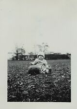 4 Snapshot Photos 1949 IDd - Baby Boy w Jack o Lantern Carved Pumpkin Halloween