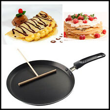 24cm Non Stick Crepe Pan Pancake Toughened Black Smooth Finish + Wooden Spreader