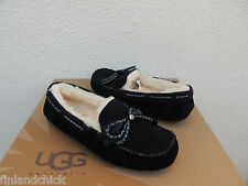 UGG BLACK DAKOTA BRAID BLING SUEDE SHEEPSKIN MOCCASIN SLIPPERS, US 5/ EUR 36 NIB
