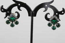 VINTAGE SCREWBACK EMERALD GREEN RHINESTONES EARRINGS FASHION 8741