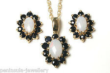 9ct Gold Opal and Sapphire Pendant and Earring Set Boxed Made in UK