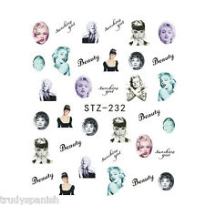 Nail Art Water Transfers Nail Art Stickers Decals Audrey Hepburn Gel Polish 232